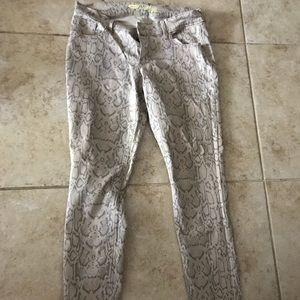 Snake skin denim jeans